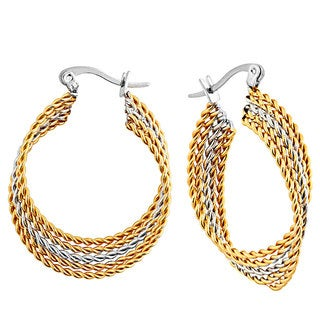 Goldplated Stainless Steel Twisted Layered Hoop Earrings