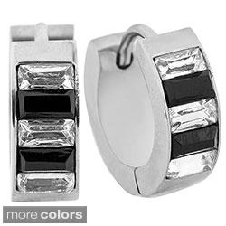 Stainless Steel Two-color Cubic Zirconia Hoop Earrings