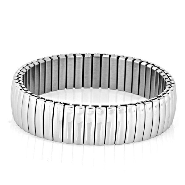 Stainless Steel Domed Bar Segment Stretch Bracelet