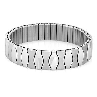 Stainless Steel Hourglass Segment Stretch Bracelet