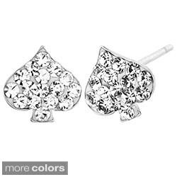 Stainless Steel Colored Cubic Zirconia Spade Earrings