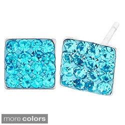 Stainless Steel Colored Cubic Zirconia Square Earrings