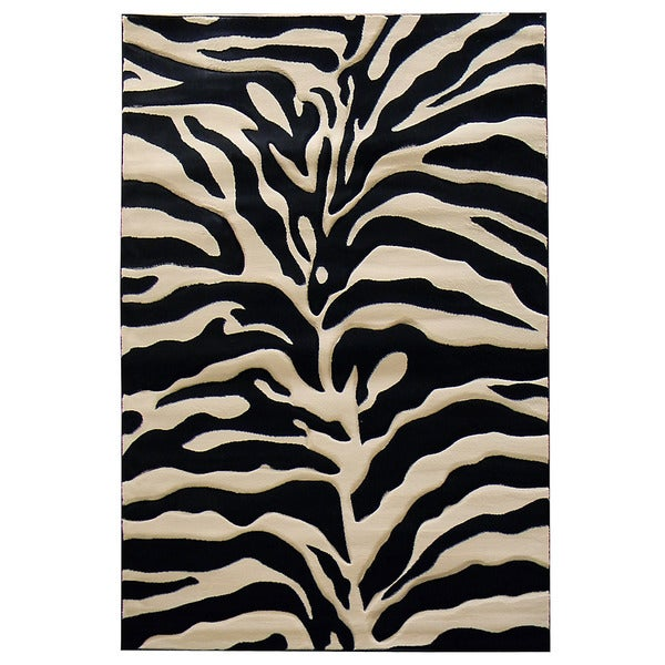 Acura Rugs Animal Hide White Black Zebra Area Rug: Zebra Print Black/ Beige Area Rug (5' X 7')