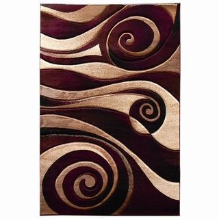 Abstract Swirl Burgundy Area Rug (5' x 7')