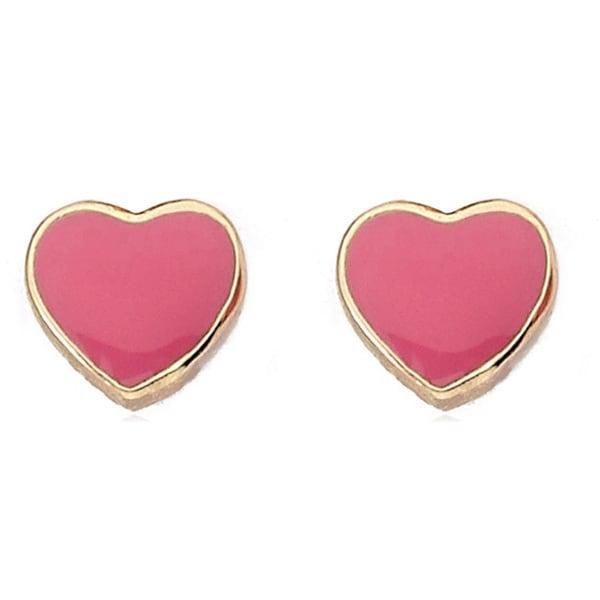 Little Miss Twin Stars 14k Yellow Goldplated Brass Enamel Heart Earrings