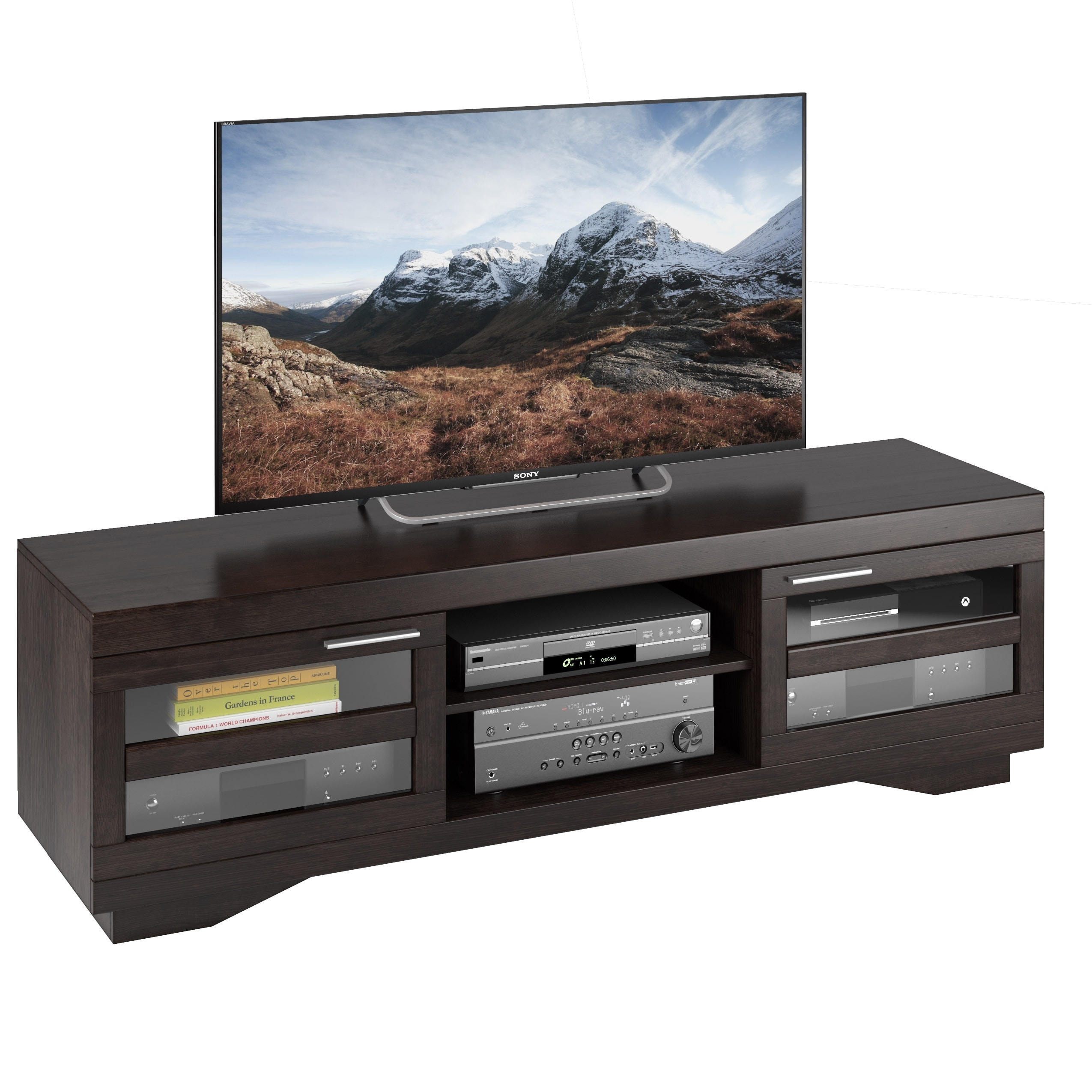 Sonax Granville Mocha Warm Cinnamon Wood Veneer 66-inch TV Bench at Sears.com