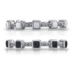 Sterling Silver Diamond Accent and Black or White Enamel Stackable Ring