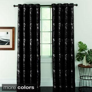 Ganset Leaves Jacquard Grommet Curtain Panel Pair