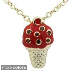 Junior Jewels 18k Gold Overlay Children's Birthstone and Enamel Ice Cream Necklace