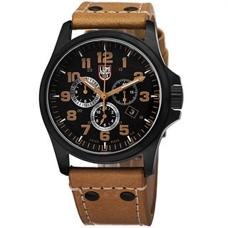 Luminox Men's A.1945 'Atacama' Black Dial Tan Leather Strap