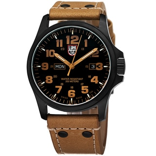 Luminox Men's A.1925 'Atacama' Black Dial Tan Leather Strap