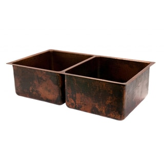 Premier Copper Products Hammered Copper 33-inch 50/50 Double Basin Kitchen Sink