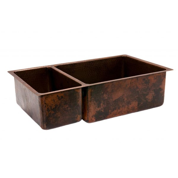 Premier Copper Products Hammered Copper 33-inch 25/75 Double Basin Kitchen Sink