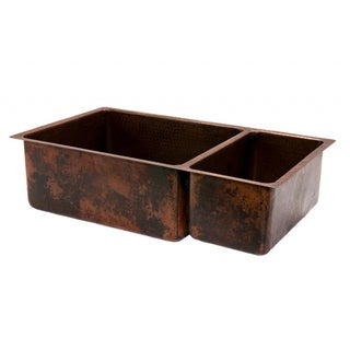 Hammered Copper 33-inch 75/25 Double Basin Kitchen Sink