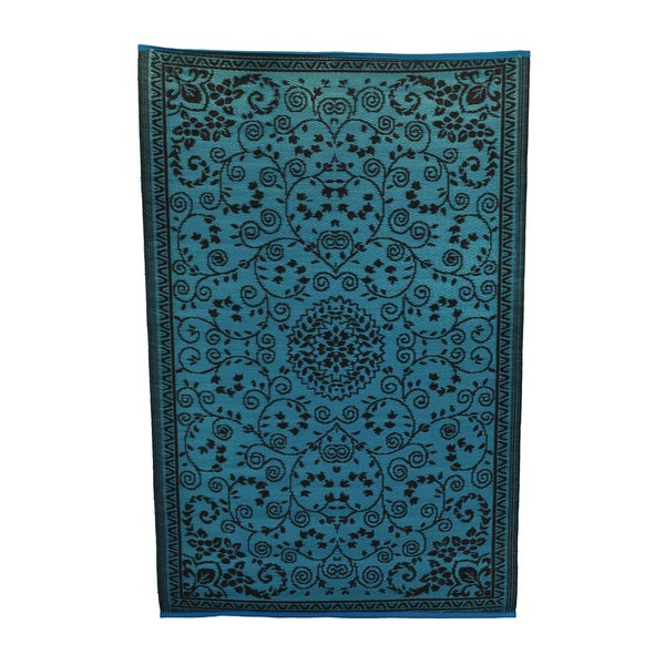 Indoor Outdoor Turquoise Coffee Rug 6 x 4 Overstock