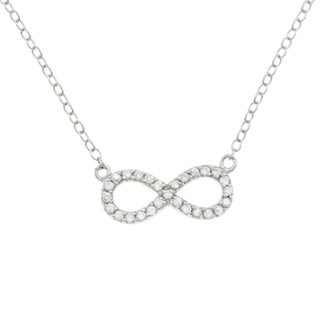 La Preciosa Sterling Silver Cubic Zirconia Children's Reversible Infinity Necklace