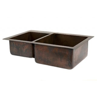 Hammered Copper 33-inch 40/60 Double Basin Kitchen Sink