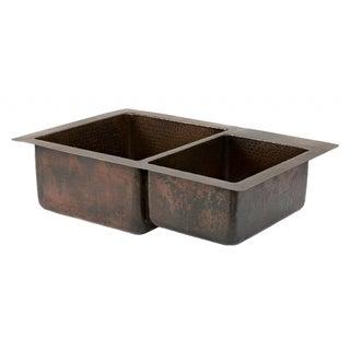 Hammered Copper 33-inch 60/40 Double Basin Kitchen Sink