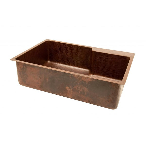 Premier Copper Products Hammered Copper 33-inch Basin Kitchen Sink with Faucet Ledge