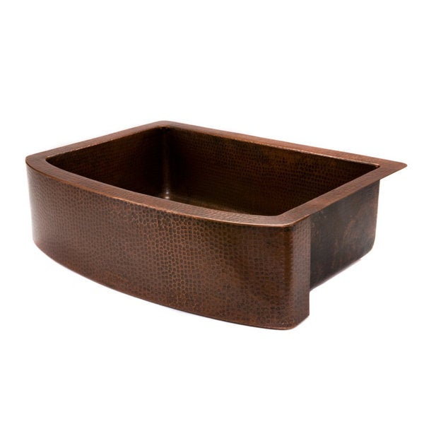 Premier Copper Products Hammered Copper 33-inch Single-basin Rounded Apron Kitchen Sink