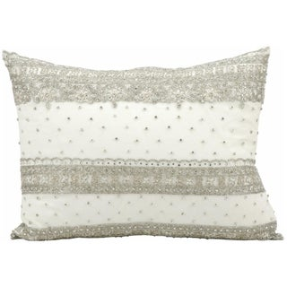 Mina Victory Luminecence Ivory Beaded 14 x 20-inch Decorative Pillow by Nourison