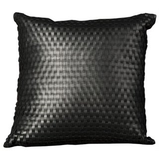 Mina Victory Natural Leather Hide Black 24 x 24-inch Decorative Pillow by Nourison