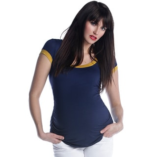 Sulee by Lilac Women's Maternity Scoop Neck Navy and Yellow Tee