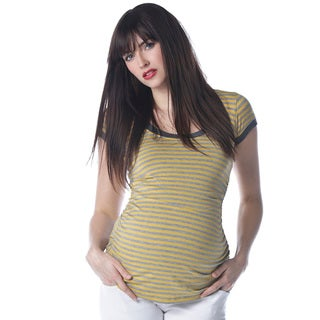 Sulee by Lilac Women's Maternity Scoop Neck Mustard and Grey Top