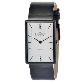 Skagen Men's Black Leather Strap/ White Dial Watch