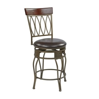 Cosmo 24-Inch Ash Metal/Foam Upholstered Swivel Barstool