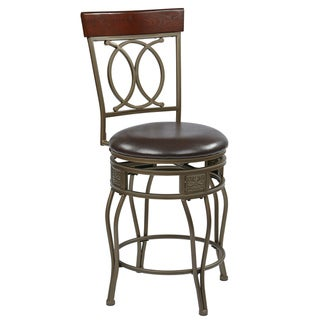 Cosmo 24-Inch Gray Ash Metal Upholstered Swivel Barstool