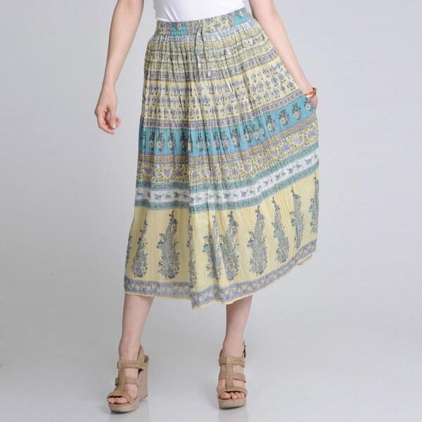 La Cera Womens Floral Print Crinkled Maxi Skirt