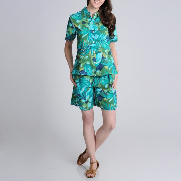 La Cera Women's Teal Floral Print Casual Shirt and Short Set