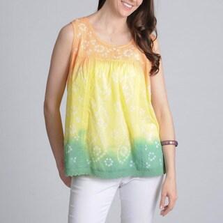 La Cera Women's Coral Tie-dye Printed Tank Top