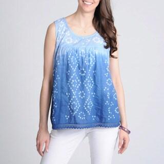 La Cera Women's Blue Tie-dye Printed Tank Top
