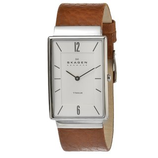 Skagen Men's Brown Leather Strap Watch