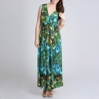 La Cera Women's Peacock Printed Sleeveless Maxi Dress