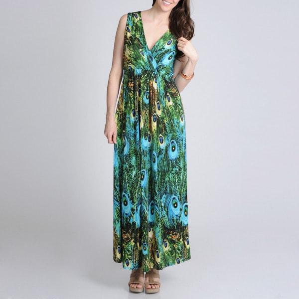 La Cera Women's Peacock Printed Sleeveless Maxi Dress