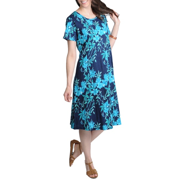 La Cera Women's Navy Floral Printed Casual Dress