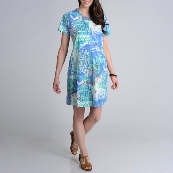 La Cera Women's Blue Abstract Printed Casual Dress