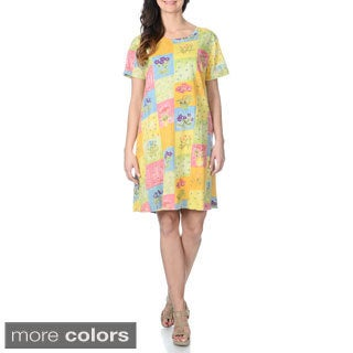 La Cera Women's Teal Floral Printed Casual Dress with Short Sleeves