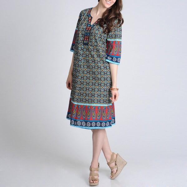 La Cera Women's Allover Printed Jewel Neck Casual Dress