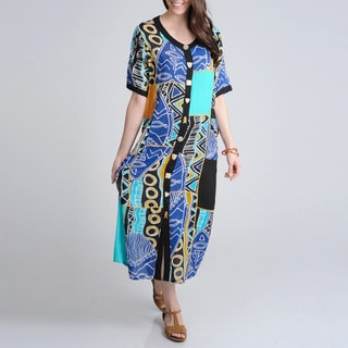 La Cera Women's Turquoise Tribal Print Casual Maxi Dress