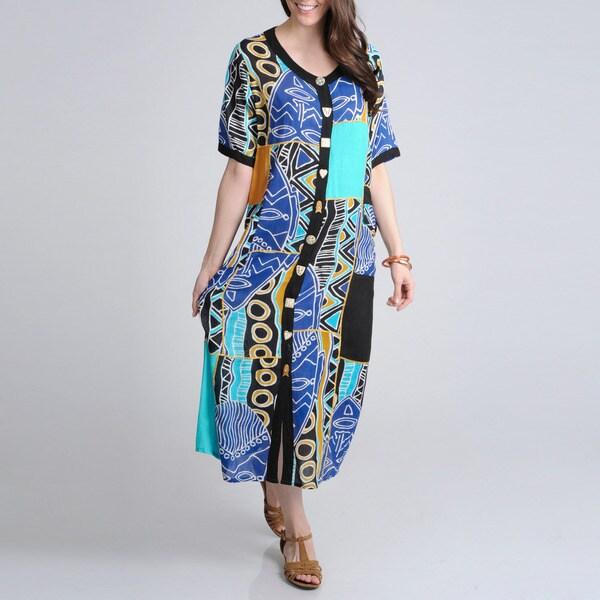 La Cera Women's Turquoise Tribal Print Casual Maxi Dress