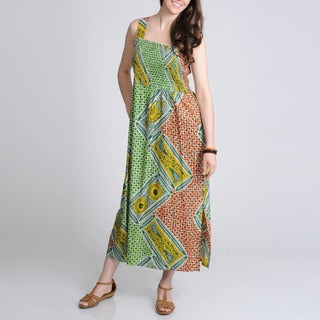 La Cera Women's Green Geometric Printed Casual Maxi Dress