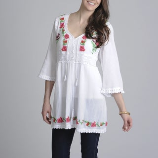 La Cera Women's Embroidered Tunic Top