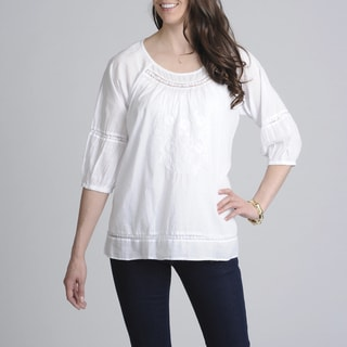 La Cera Women's White Embroidered Scoop-Neck Casual Shirt