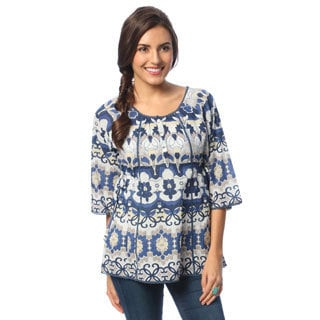 La Cera Women's Printed Shirt and Side Drawstring