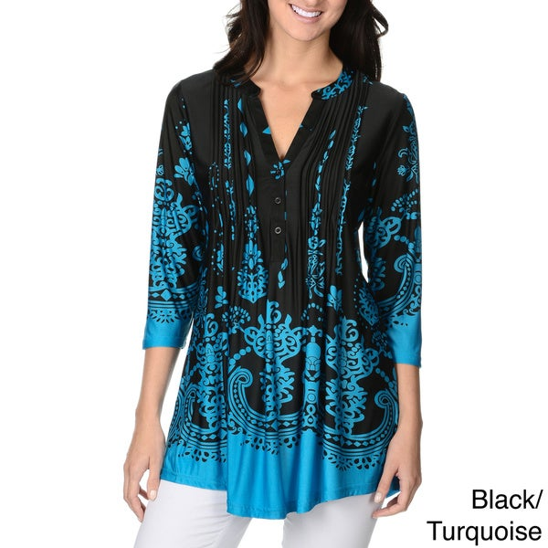 La Cera Women's Printed Pleated Top Tunic