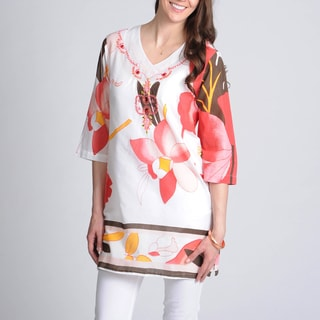 La Cera Women's Floral Printed Embroidered and Beaded Tunic